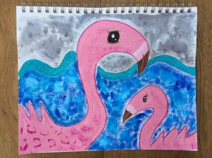 Pink Flamingo and Baby