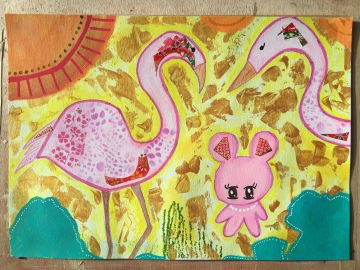 Pink Flamingos and Teddy