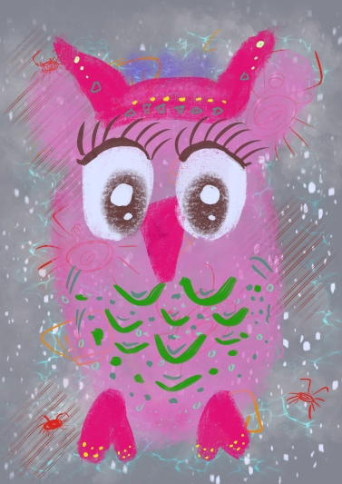 Pink Quirky Owl